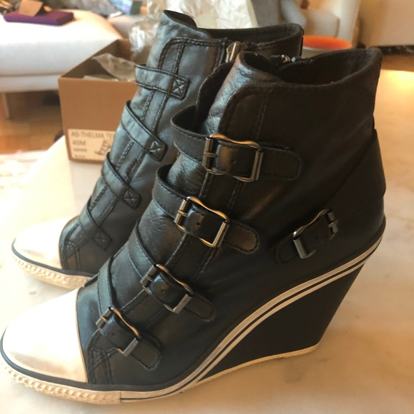 28c33bc3d9ed Ash Thelma Black Leather Wedge Sneakers NWT Sz 40